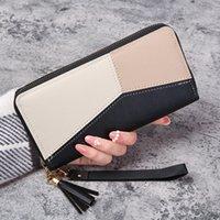 Korean version wallet women's long zipper large capacity mobile phone bag versatile Korean version splicing handbag card bag