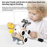 Busie Kurulu Blok Montessori Kilidini Aç oyunu Komik Küp Yüksek Kaliteli Ahşap Ahşap Oyuncaklar Meşgul Kilit Okul Öncesi Mantıksal Eğitim