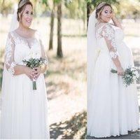 Plus Size Sukienka ślubna 2021 Ciąży 3/4 Rękaw A-Line Big Size Lace Aplikacje Szyfonowe Suknie Ślubne Eleganckie dla kobiet Brides