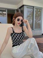 2021 تصميم الأزياء الأوروبية المرأة الصيف السباغيتي حزام الدبابات محبوك رسالة الجاكار سترة قصيرة مثير قمم بروتيل