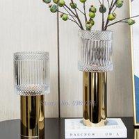 Vases Glass Vase Golden Geometry Tall Feet Candlestick Candle Holder Modern Home Decoration Flower Arrangement Crafts Furnishings