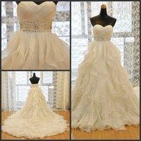 Sweetheart Crinkle Empire Waist Chiffon Ruffled Wedding Dresses With Beading Sash robe de mariee princesse de luxe
