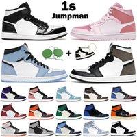 Jumpman 남성 여성 농구 신발 1s 높은 OG 1 하이퍼 로얄 대학교 블루 UNC 특허 탄소 섬유 디지털 핑크 망 트레이너 스포츠 스니커즈
