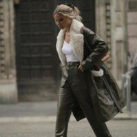 Women's Leather & Faux Fashion Pockets High Imitation Coats Women Elegant Buttons Jackets Turn Down Collar Long Ladies