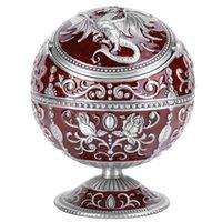 Vintage cenicero a prueba de viento vino rojo globo mosca de dragón forma figurillas miniatura con tapa decoración del hogar Artesanía regalo de cumpleaños x0710