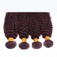 Новый стиль курчавые плетения 99J бразильский малазийский перуанский монгольский вьющиеся вьющиеся волосы девственницы 4 шт. Лот верхняя оценка вина красный 99J волосы