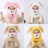 Kış Yeni Çocuklar Uzun Tavşan Kulak Şapkalar Çocuk Peluş Kalınlaşmak Sıcak Kulak Muff Boys Moda Aksesuarlar Kız Maske Trapper Şapkalar
