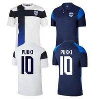 20 21 فانلندا كرة القدم الفانيلة pukki skrabb raitala jensen اللد المنزل الأبيض بعيدا الأزرق كرة القدم قميص 2021 زي قصيرة الأكمام