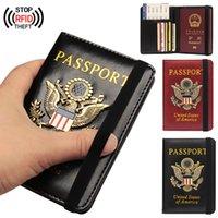 ABD Meric RFID PSSPort Tutucu Kadın Erkek Business Pu Ler ID BNK CRD Storge Wllet Çanta CSE Trevel Ccessories