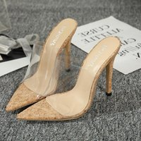 Heels 12cm 2021 Comfortable Natural Fruit Transparent High-heeled Sandals Super High Sexy Women Shoes 40 Yards