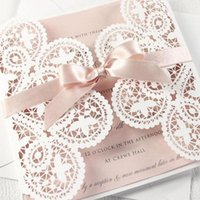 Greeting Cards (10 Pieces lot) White Lace Rose Gold Bowknot Wedding Invitation Card Laser Floral Pink Engagement Quinceanera Invitations