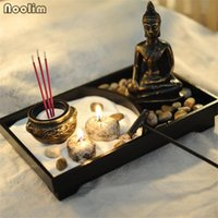 Fragrance Lamps NOOLIM Resin Buddha Statue Zen Meditation Peaceful Relax Home Teahouse Decor Set Spiritual Garden Sand Tray Kit Incense Burn