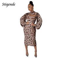 Casual Dresses Stigende Women Leopard Print Sexy Two Piece Set Lantern Sleeve Crop Top And Dress Summer Bodycon Spaghetti Strap Cheetah