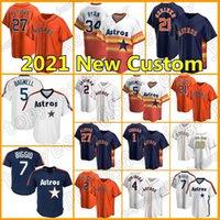 2 Alex Bregman Jersey Astros Custom 27 Jose Altuve Baseball 7 Craig Biggio 5 Jeff Bagwell 43 Lance McCullers Mens Nolan Ryan Carlos Correa