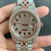 Full Diamond Mens Watch Automatic Mechanical Watches 41mm With Diamond-studded Steel 904L Women Wristwatches Rose Gold Bracelet Montre de Lu