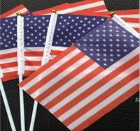 Usa American Flag Hand Held Mini Flag American Festival Party Supplies Flag Stainless Steel Flagpole Polyester party Decoration HWB10523