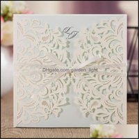 Greeting Event Festive Home & Gardengreeting Cards Wishmade Laser Cut Square Wedding Invitations With Bow Inserts And Envelopes Printable In