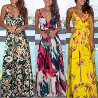 Dresses Summer Random Maxi for Women Sexy Clothing Flowers Printed Long es Mouwlless V-neck Plus Size Women's Loose Vestidos