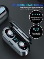 Беспроводные наушники Bluetooth V5.0 F9 TWS Переименовать GPS Спортивные наушники Светодиодные дисплеи с 2000 мАч Силовой Банк Гарнитура Микрофон