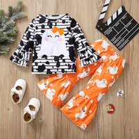Clothing Sets Toddler Baby Girls Halloween Costume Clothes Cartoon Print Striped Ruffles Tops +Bell-bottomed Pants Kids Outfits