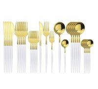 30шт белые золотые столовые приборы набор 304 посуда из нержавеющей стали набор ножей Dessert вилка Coffe ложка ужин Silverware домашний кухонный посуда набор