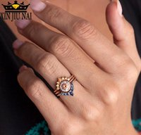 Anéis de cluster 3 pcs conjunto rosa ouro 925 esterlina prata três peça para mulheres elegante chique gem zircon casamento jóias vintage rodada