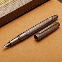 Fountain bolígrafos héroe metal pluma cepillado agua ondulaciones moda iraurita fina 0.5mm gris / oro / oro oro oficina de negocios regalo