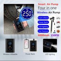150PSI القابلة لإعادة الشحن مضخة الهواء نافخة مع مصباح LED للسيارة دراجة نارية دراجة الاطارات الاطارات كرات الذكية الرقمية نفخ اللاسلكية الكهربائية