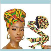 Beanie Skull Hats Caps Hats, Scarves & Gloves Fashion Aessoriesafrican Print Satin Bonnet With Long Ribbon Double Layer Headwrap Ankara Patt