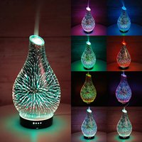 7 colorful lights 3D glass Humidifiers LED Night Light Essential Oil Diffuser Aromatherapy Lamps Vase Humidifier