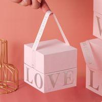 Gift birthday wedding candy pink box lipsticks packaging cardboard lid and base with handle custom logo