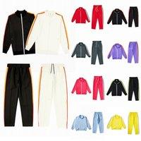 Мужские женские дизайнерские трексуиты спортивная одежда толстовка костюма куртка белый цвет полоса боковая лента ретро повседневная высокое качество