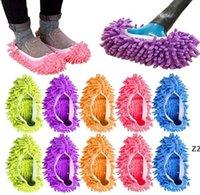 Multifunción polvo polvo trapeador zapatillas zapatos suaves lavables reutilizables microfibra pies calcetines de limpieza de piso herramientas de zapato chenilla cubierta de zapato HWF7410