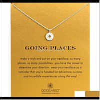 Necklaces & Pendants Jewelry Drop Delivery 2021 Fashion Dogeared Compass Pendant With Card Gold Color Noble And Delicate Choker Necklace 5985