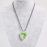 Murano inspiró el patrón de espiral de mezcla de vidrio en el corazón de amor colgantes colgantes para las mujeres collares