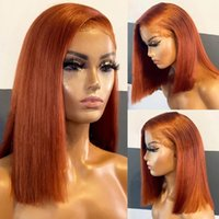 Burnt Orange 13x4Lace Front Wig Straight Short Bob 360Lace Frontal Human Hair Wigs For Women Brazilian 5x5 Lace Closure Wigss Bleached Knots hairline