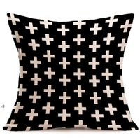 halloween Christmas black white pillowcase geometry Cushion covers Cotton linen pillow cover for Sofa bed Nordic Throw Pillow case OWD10645
