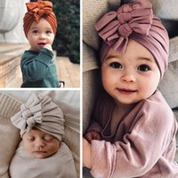 Caps & Hats Dropship Lovely Knot Baby Hat Cute Solid Color Girls Boys Turban Soft Born Infant Cap Beanies Head Wraps #9