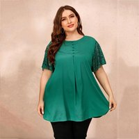 Plus Size Long Blouse Shirt Women Autumn Lace Short Sleeve Solid Casual Green Loose Oversized Ladies Tunic Tops Women's Blouses & Shirts