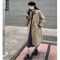 Women's Trench Coats Long Sleeve Solid Color Double Breasted Coat For Women 2021autumn High Sense French Three-Quarter Coat.Kio