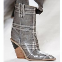 High Street Fashion Lattice Shoes Women Wedge Ankle Boots Blue Pink Crocodile Leather Pointed Toe Knight Boot
