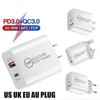 18W 20W PD + QC3.0 carregador USB Adaptador de energia de parede de carregamento rápido UK US Plug para iPhone Xiaomi Samsung Huawei