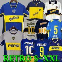 95 96 97 98 Boca Juniors Retro Soccer Jersey 1981 99 00 01 02 03 04 05 06 Maradona Roman Caniggia Riquelme 1997 2002 Palermo Football Hemden MAILLT CAMISETA DE FÜNDBOL