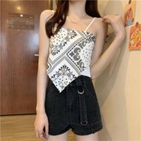 Women's Tanks & Camis Womens Y2k Satin Corset Sexy Crop Tops Print Backless Camisole Bandana Tank 2021 Summer Lady Sling Strap Club Vest