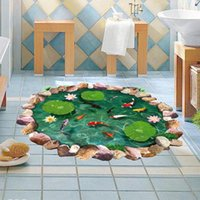 Wall Stickers 3D Lotus Pond Fish Floor Sticker Bathroom Living Room Decoration Mural For Home Decor Decals Wallpaper