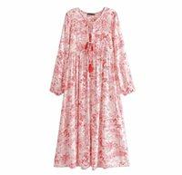 빈티지 세련된 여성 술 꽃 무늬 프린트 비치 보헤미안 미디 드레스 숙녀 레이온 코튼 주름 보이 vestidos 캐주얼 드레스