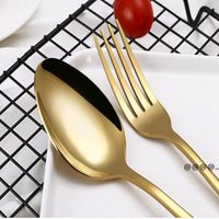 4 set Cubiertos de acero inoxidable Cubiertos de oro Black Mezcly Colors Blue Silver Plateado Cuchillo Cuchillo Tenedor Cuchara Kit FWE5721