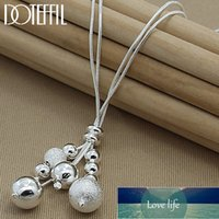 DOTEFFIL 925 Sterling Silver Snake Chain Glossy   Matte Beads Pendant Necklace For Woman Charm Fine Jewelry Wholesale Factory price expert design Quality Latest