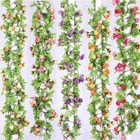 Artificial Ivy Small Roses Silk Fake Flowers Vine Garland Autumn Cane Backdrop Decor For DIY Wedding Home El Decoration Decorative & Wreaths