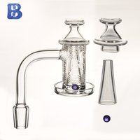 Quartz spinner banger set Smoke with Beveled edge and deep carving pattern on the bowl + 1 glass terp pearl+carb cap+cone for dab rig water Pipe Bongs Hookahs